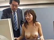 Japanese AV Model is nude at an office working on a computer
