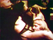 Chick giving blowjob at breakfast in sixties