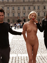 European hottie is left handcuffed in a tunnel and instructed to suck cock and get fucked by anyone who passes by