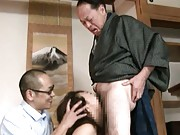 Reiko Nakamori is teased by two men and sucks their cocks, too