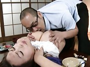 Reiko Nakamori´s tit is sucked and squeezed by a horny man