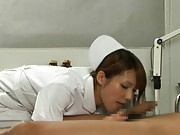 Yua Kisaki sucks her patient´s cock to make him cum and cure him
