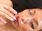 aya model after being penetrated anally swallows cum