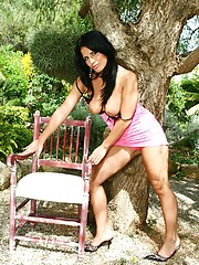 Teenager loves sitting under tree and rubbing