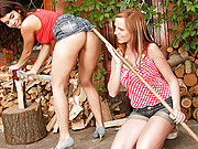 Horny and lesbian chicks working in a garden