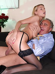 Lucky senior shagging a willing stewardess