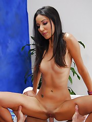 Hot, sexy brunette gives a massage and a little extra!