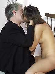 Horny senior with mustache bangs a brunette