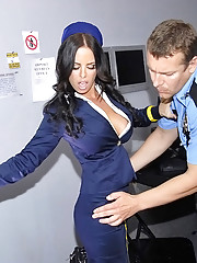 Super sexy big tits airline babe fucked hard by the tsa agent in back room hot long leg mini skirt babe fuck pics