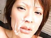 Erin Tohno model swallowing jizz after giving a blowjob