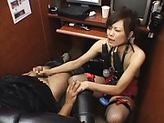 Natsumi Horiguchi gets ready to suck cock in a public office