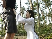 Yuu Asakura is stripped nude outdoors in the woods and gets horny