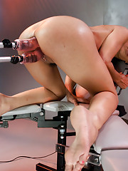 "French babe calls out ""fuck me"" in French & English while the machines work her every hole.  Thick dick stretches her ass, DP machine makes her cum!"