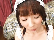 Mari Fujisawa Nasty maid gives a hot blowjob in close up