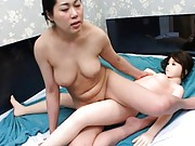 Amateur lesbian sex is happening between a girl and a female doll