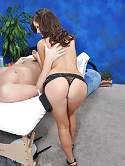 Hot 18 year old brunette gves MORE than just a massage.
