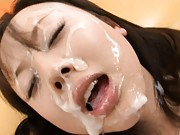 Junko Hayama tastes her huge facial she earned by pleasing a man