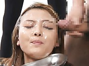 Japanese AV Model´s face drips cum into a container