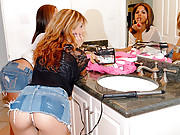 2 smoking hot latinas masturbate in the bathroom then get fucked and cumfaced in this hot power fucking 3some movie set