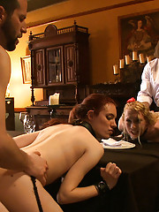 The Governess treats the house slaves to a lesson in informal table settings, with plenty of distraction and rewards from the Steward and Maestro.