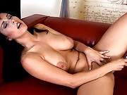 Roxana shows off her big tits and her toy