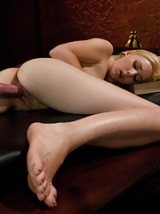 Amateur blond babe squirts in her face from machine fucking in piledriver, cums all over the couch and fucks until she is spent!