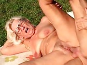Horny granny fucked outdoors
