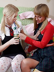 Lesbian teen schoolgirls kissing and licking