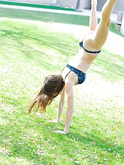 Anessa gets naked outside and does back bends