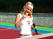Sporty tennis playing naked teen rubs cooter