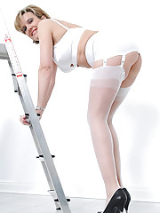 Perfect mature legs in white nylons