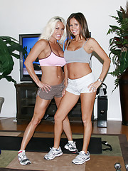 HotWifeRio and her hot friend workout then takes turns fucking Rio