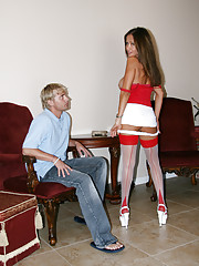 HotWifeRio poses in her red and white stockings then fucks a lucky  member