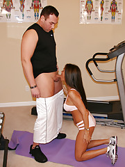 HotWifeRio jerks and sucks off her personal trainers hard cock at the gym