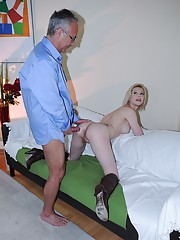 An old fart playing with young slutty titties