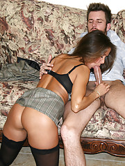 HotWifeRio puts on some  sexy black stockings  and  jerks off a young college guy
