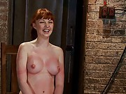 Sexy red head with HUGE lactating nipples severely bound in a reverse prayer, flogged to a bright pink, suffers nipple torture, MADE to orgasm!