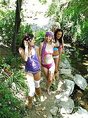 4 hot lesbians fuck each other in this park lesbian group sex movie and pic set