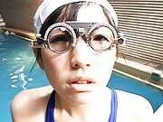 Japanese AV Model nude babe serves guests by the outdoor pool