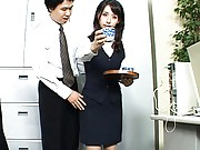 Meguru Kosaka Pretty babe serves tea minus her panties at work