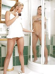 Two innocent lesbians love showering together