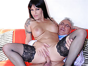 Cute british stockings girl fucks and sucks