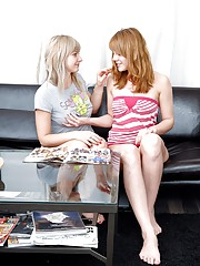 Two hot teenage lesbians in the living room