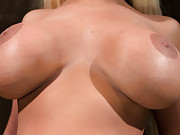 Blonde with big tits gets her pussy worked with hard whipping, too much sybian, and fucking machine. She cums more than she
