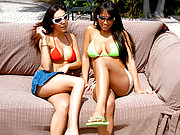 Check out this hot 3some poolside fucking and facial cumshots with bikini babes gina and her amazing cocksucking girlfriend
