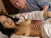 Misa Arisawa chick gets tits sucked by an old man in bed