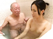 Misa Arisawa doll takes clothes off and joins old man in the tub