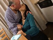 Misa Arisawa in hot tongue kiss in the kitchen