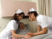 Japanese AV Model and other sexy nurse totally turn on a patient