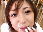 Nao Asian smiles as she gets cums in mouth trying to eat it all